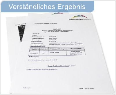 Verständliches Testergebnis der Analyse auf Asbest.